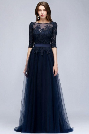 Elegant Navy Blue Half Sleeve Long Tulle Prom Dress With Lace Appliques