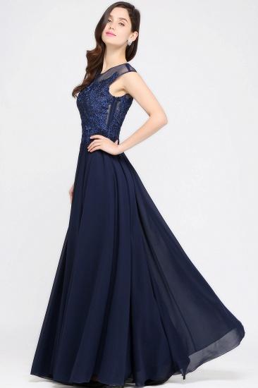 BMbridal Cap Sleeve Lace Appliques Long Chiffon Evening Dress_5