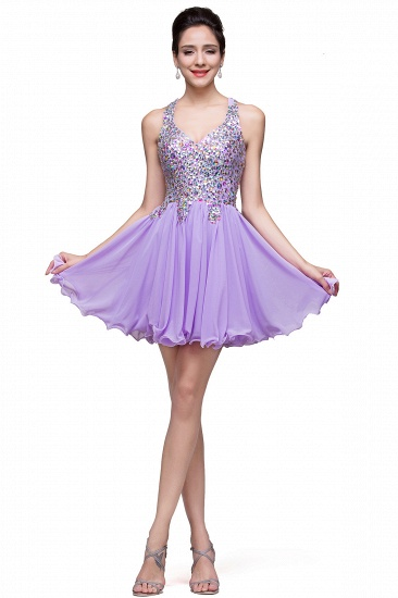 BMbridal Chic Crisscross-straps Crystal Beads Ruffle Chiffon Sweetheart Short Prom Dress_11