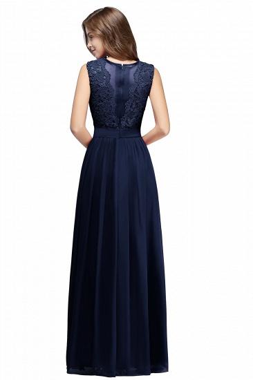 BMbridal Elegant Sheath Crew Sleeveless Lace Top Chiffon Bridesmaid Dress_8