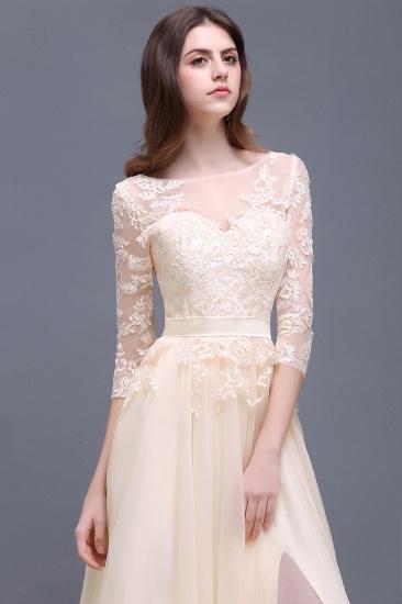 BMbridal Lace Appliques Split Long Tulle Prom Dress_7