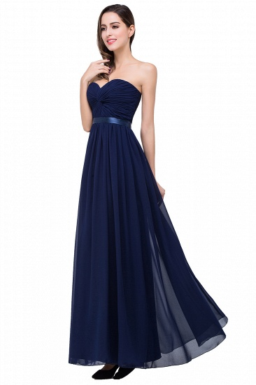 BMbridal Affordable Chiffon Strapless Navy Bridesmaid Dress with Ruffle In Stock_8