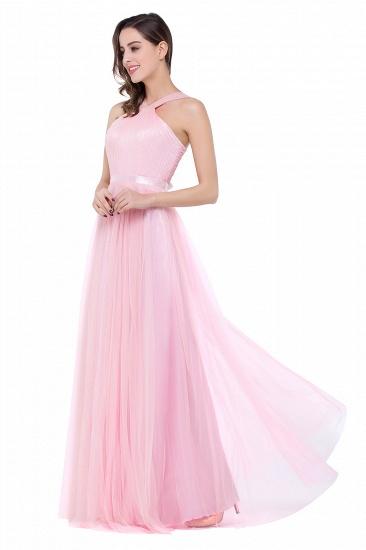 BMbridal Sheath Pink Tulle Ribbon Sash Simple Bridesmaid Dress_7