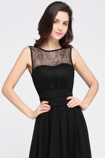 Sexy Black Chiffon Lace Long Cheap Bridesmaid Dresses In Stock_9