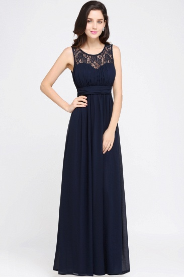 Elegant Lace Chiffon Affordable Long Navy Bridesmaid Dresses In Stock_10