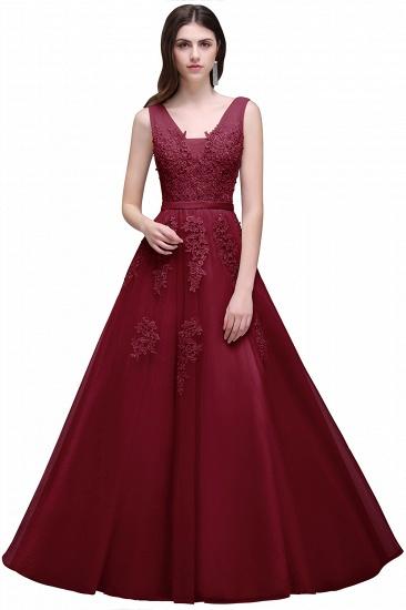 BMbridal V-Neck Sleeveless Lace Appliques Bridesmaid Dress_6