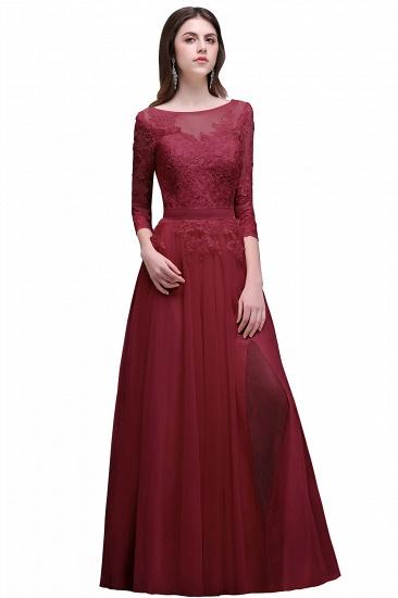 BMbridal Lace Appliques Split Long Tulle Prom Dress_2