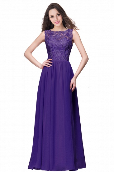 BMbridal Affordable A-line Chiffon Crew Lace Navy Long Bridesmaid Dresses In Stock_4