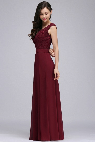 BMbridal Elegant Lace A-line Long Burgundy Prom Dress_10