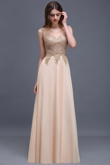 BMbridal Elegant Sheer Lace Applique Chiffon Floor Length Long Evening Dress_4
