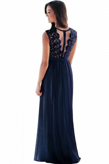 BMbridal Elegant Sheath Crew Sleeveless Lace Top Chiffon Bridesmaid Dress_11