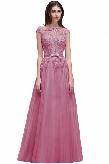 BMbridal Cap Sleeve Lace Appliques Long Evening Dress_2