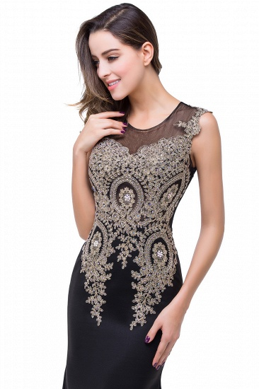 BMbridal Black Mermaid Long Prom Dress With Lace Appliques_13