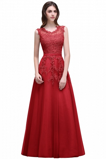 BMbridal A-line Floor-length Tulle Prom Dress with Appliques_2