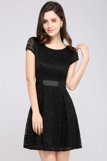 Affordable Black Lace Short-Sleeves Junior Bridesmaid Dresses In Stock_11