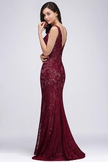 BMbridal Crew Front-split Backless Prom Dress Sweep-train Sleeveless Burgundy Lace Mermaid Evening Dress_4