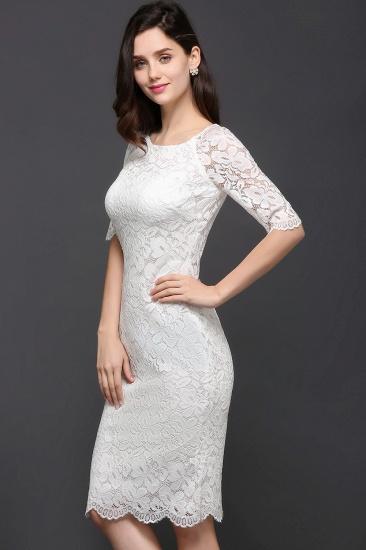BMbridal Lace Jewel Short Ivory Fashion Knee-length Sleeve Evening Dress_3