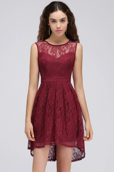 BMbridal A-Line Round Neck Short Lace Burgundy Homecoming Dress_4