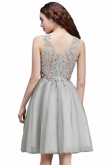 BMbridal Newest Lace Appliques Silver Jewel Sleeveless Short Homecoming Dress_8