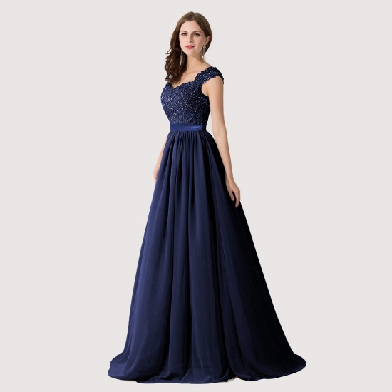 BMbridal A-line V Neck Chiffon Bridesmaid Dress with Appliques_17