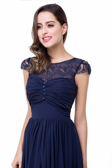 BMbridal A-line Ruffles Ribbon Bow Capped Lace Chiffon Bridesmaid Dress_11
