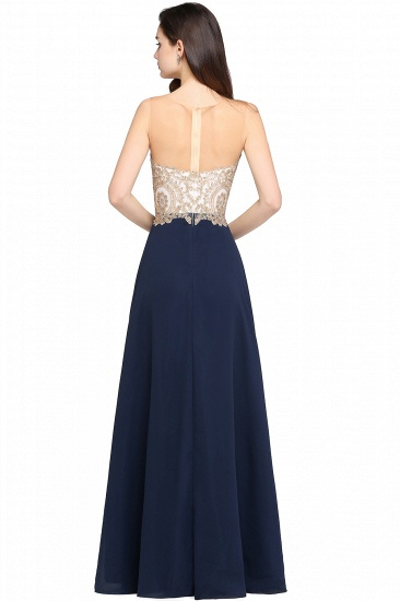 BMbridal Sheer Tulle A-line Chiffon Beads Lace Appliques Sleeveless Long Evening Dress_9