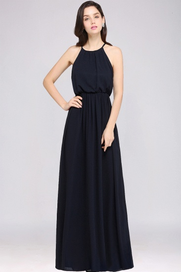 Simple Dark Navy A-line Sleeveless Floor-length Chiffon Bridesmaid Dress