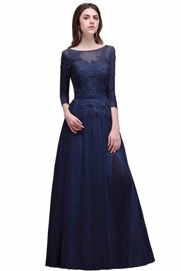 BMbridal Lace Appliques Split Long Tulle Prom Dress_3