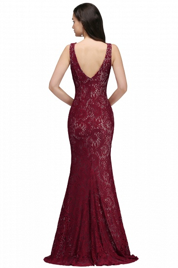 BMbridal Crew Front-split Backless Prom Dress Sweep-train Sleeveless Burgundy Lace Mermaid Evening Dress_3