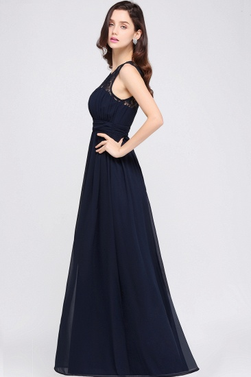 Elegant Lace Chiffon Affordable Long Navy Bridesmaid Dresses In Stock_11