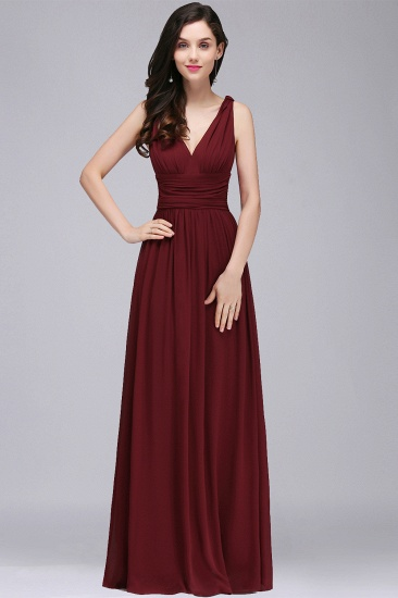 Affordable A-line Burgundy Chiffon V-Neck Floor-length Bridesmaid Dress