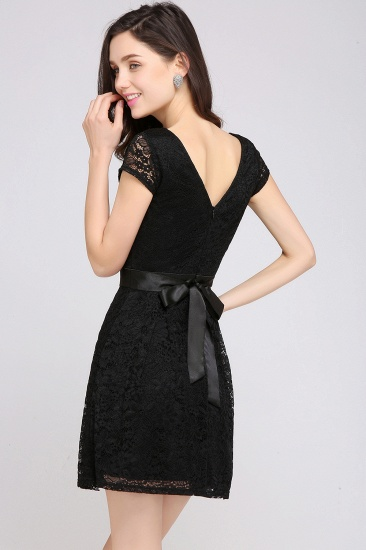 Affordable Black Lace Short-Sleeves Junior Bridesmaid Dresses In Stock_13