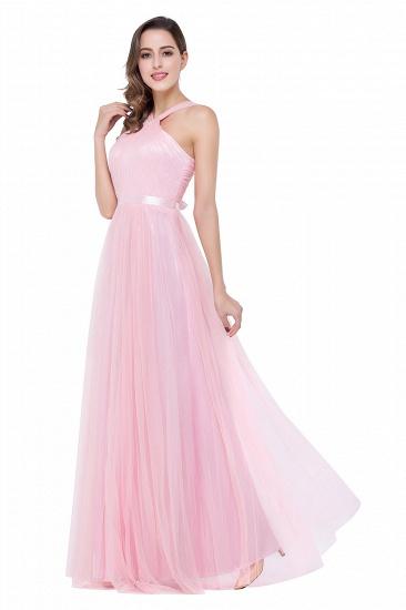 BMbridal Sheath Pink Tulle Ribbon Sash Simple Bridesmaid Dress_6
