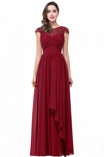 BMbridal A-line Ruffles Ribbon Bow Capped Lace Chiffon Bridesmaid Dress_1