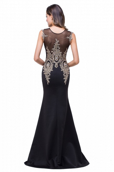 BMbridal Black Mermaid Long Prom Dress With Lace Appliques_10