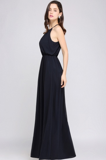 Simple A-line Halter Navy Chiffon Long Bridesmaid Dresses In Stock_10