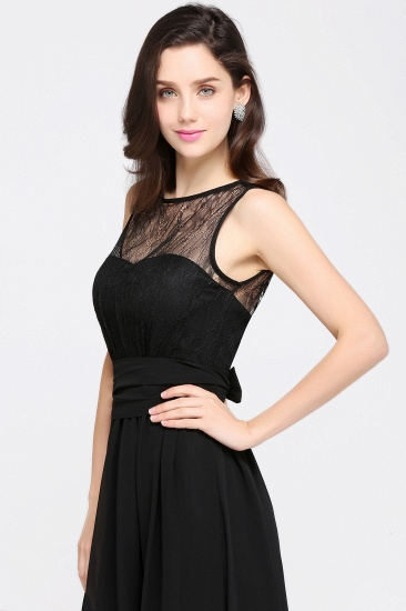 Sexy Black Chiffon Lace Long Cheap Bridesmaid Dresses In Stock_14