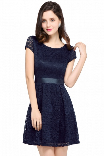Affordable Black Lace Short-Sleeves Junior Bridesmaid Dresses In Stock_5