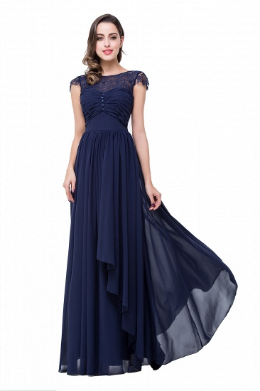 BMbridal A-line Ruffles Ribbon Bow Capped Lace Chiffon Bridesmaid Dress_6