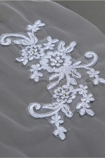 BMbridal Floral Pretty Tulle Cut Edge Wedding Veil with Appliques Sequined_5