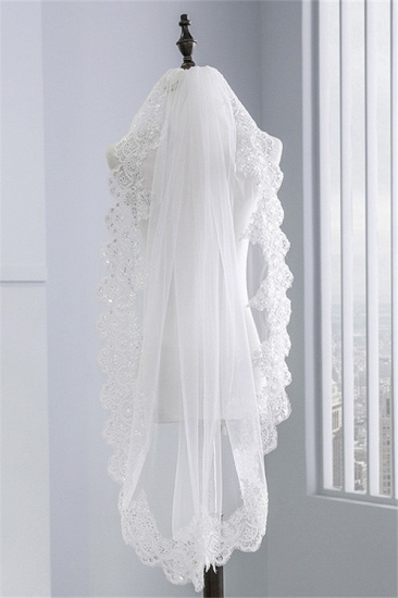 BMbridal Pretty Tulle Lace Scalloped Edge Wedding Veil with Appliques Sequined_1
