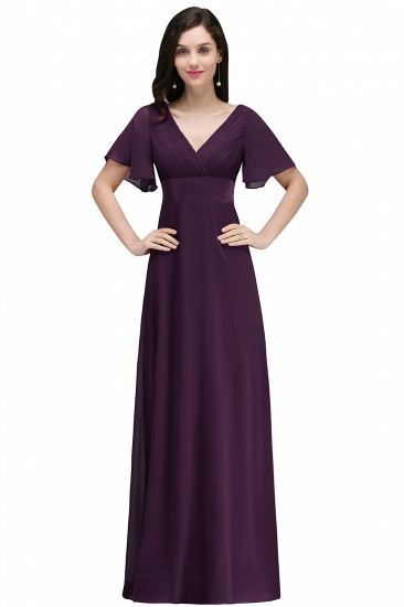 Affordable Chiffon Burgundy Long Bridesmaid Dresses with Soft Pleats In Stock_2