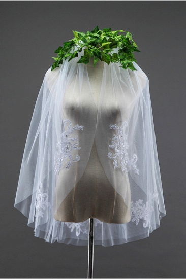 BMbridal Floral Pretty Tulle Cut Edge Wedding Veil with Appliques Sequined_4