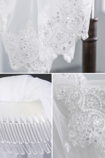 BMbridal Pretty Tulle Lace Scalloped Edge Wedding Veil with Appliques Sequined_5