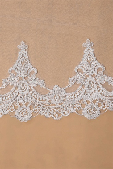 BMbridal Floral Glamourous Tulle Lace Applique Edge Wedding Veil with Comb_5