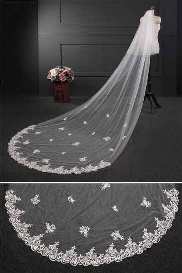 BMbridal Glamourous Lace Applique Edge Wedding Veil with Appliques_4