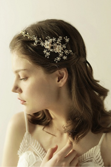 Beautiful Alloy Rhinestone Special Occasion Headbands Headpiece with Imitation Pearls_6
