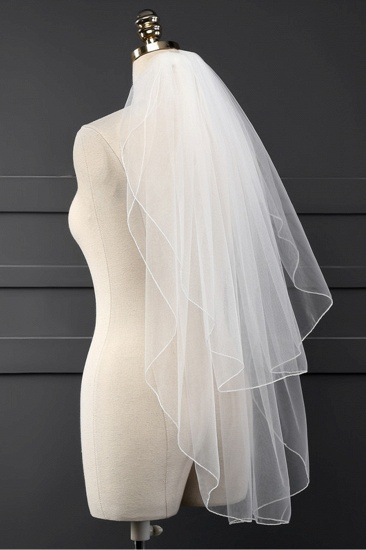 Affordable Tulle Cut Edge Wedding Veil_3