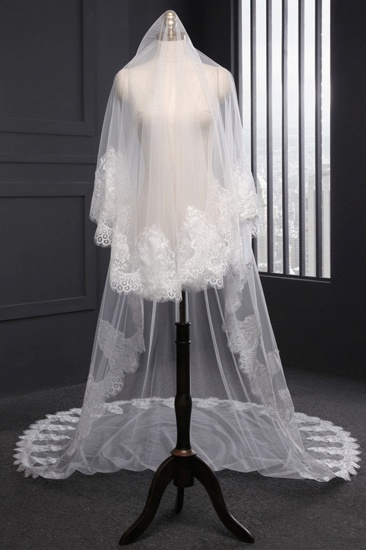 Gorgrous Cathedral Tulle Scalloped Edge Wedding Veil with Appliques_4