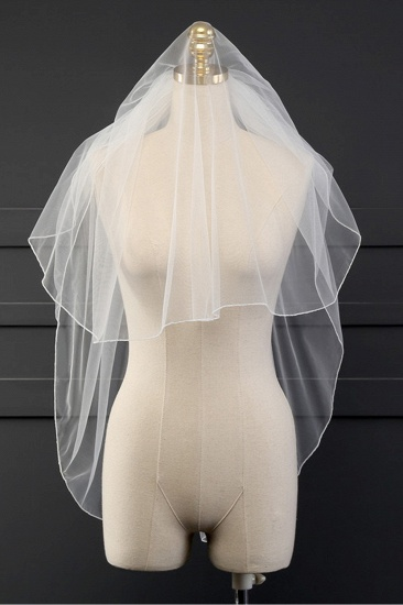 Affordable Tulle Cut Edge Wedding Veil_5